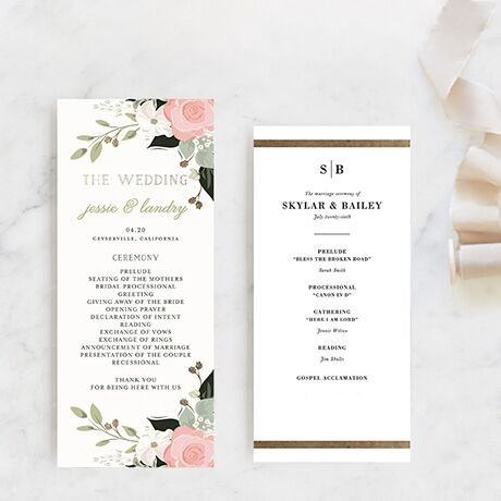 Customizable, artisan-designed programs featuring your wedding details bordered by florals.