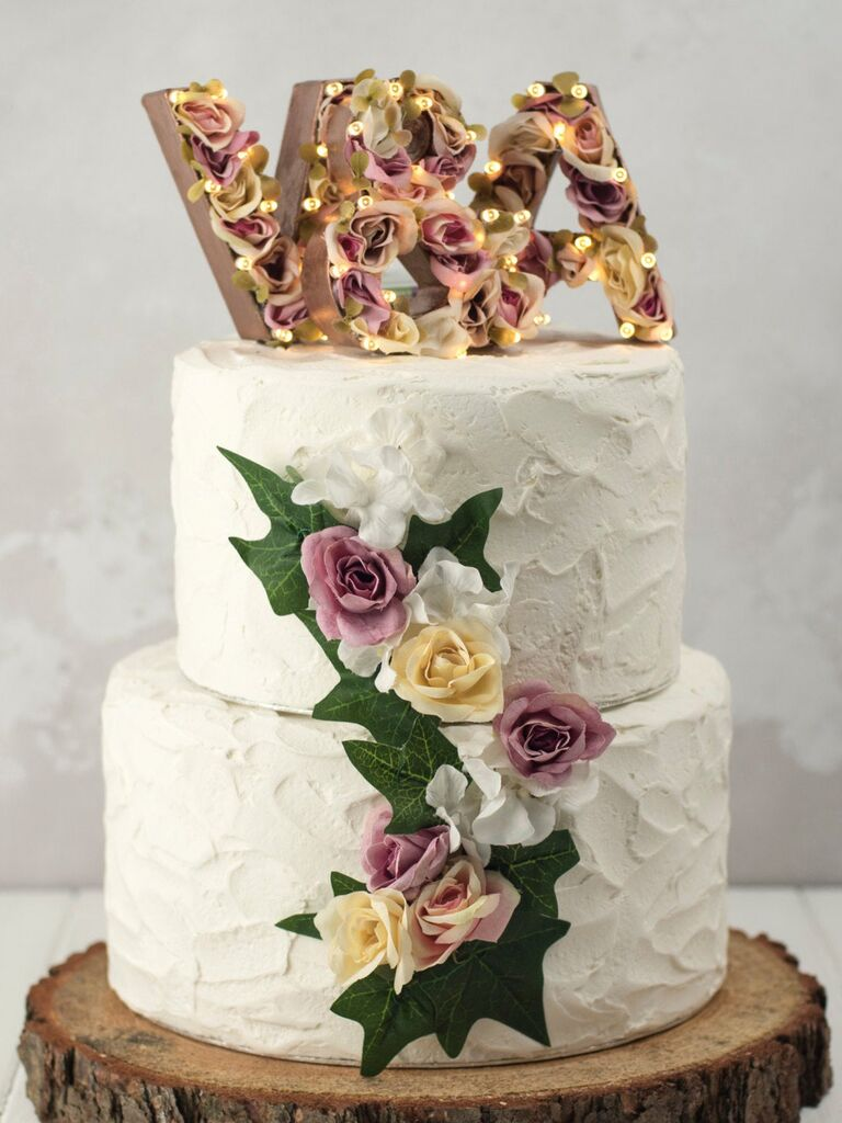 Marquee light floral wedding cake topper