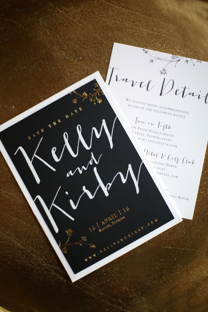 Black and White Invitation with Gold Foil Illustration