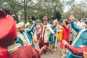 Traditional Indian Baraat with Groom and Groomsmen