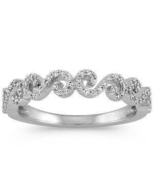 Shane Co. Round Diamond Swirl Wedding Band in 14k White Gold White Gold Wedding Ring