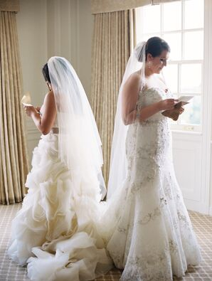Brides Reading Love Letters Before Wedding Ceremony