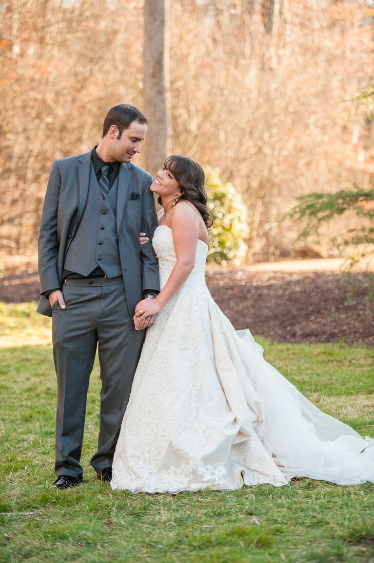 """Tricia and Jim exchanged vows during a tented garden ceremony at Club Bella at Montebello. """"We loved the old-world charm and felt like the beauty of the building spoke for itself,"""" says Tricia."""