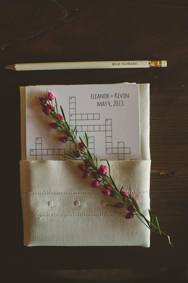 The couple worked with the planner to create crossword puzzles for guests to complete at their seat since the menu was in the program.