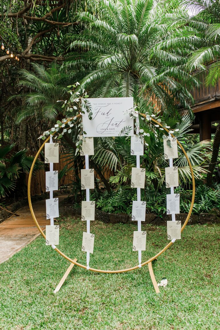 Round seating chart with tropical greenery in the background