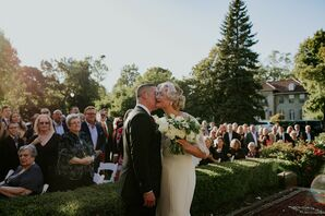 Modern Backyard Processional with Bride and Groom