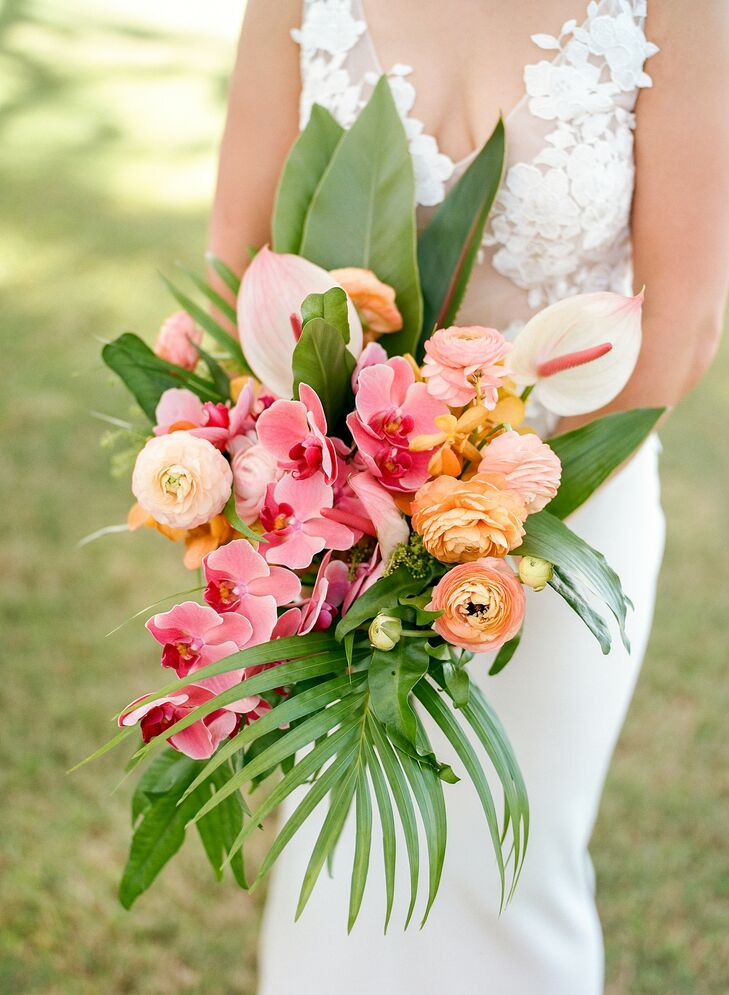Orchid, Anthurium and Ranunculus Bouquet for Wedding in Kapalua, Hawaii