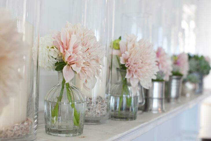 Large pastel pink dahlias decorated the reception space.