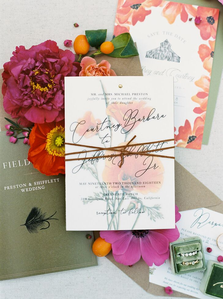 Rustic Orange and Pink Floral Wedding Invitations