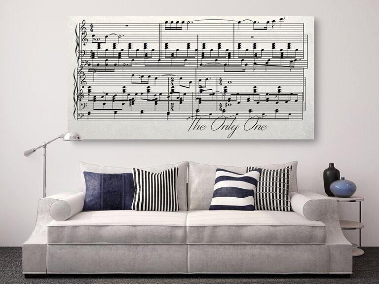 Silver music sheet canvas 25th anniversary gift