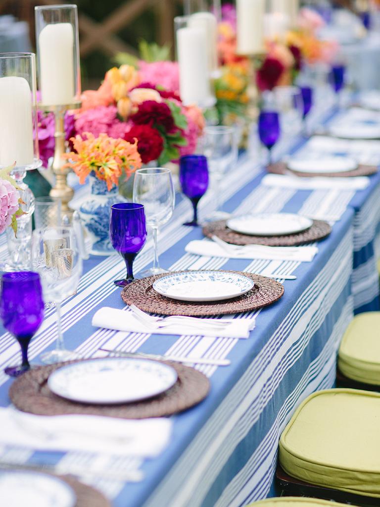 purple and blue wedding table settings
