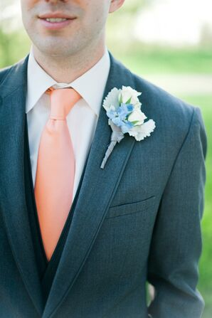 White Rose and Dusty Miller Boutonniere