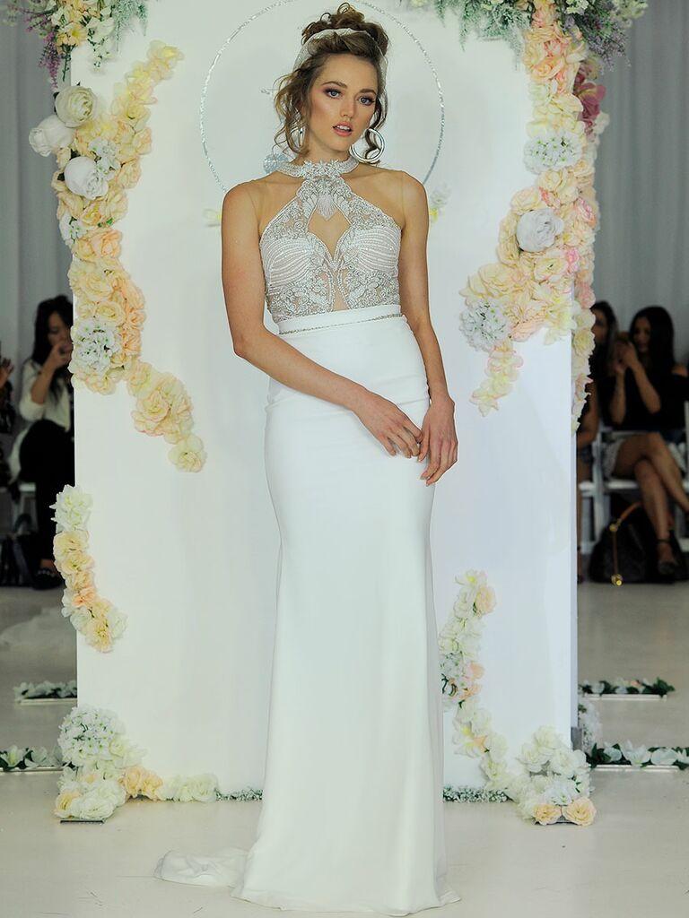 Julie Vino Fall 2018 halter wedding dress with beaded collar