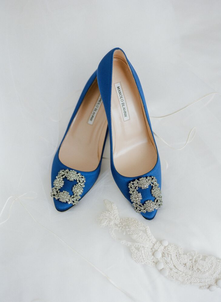 Blue Manolo Blahnik Wedding Heels