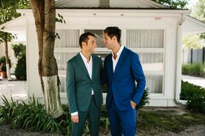 Modern, Casual Grooms Wearing a Green Suit and Blue Suit