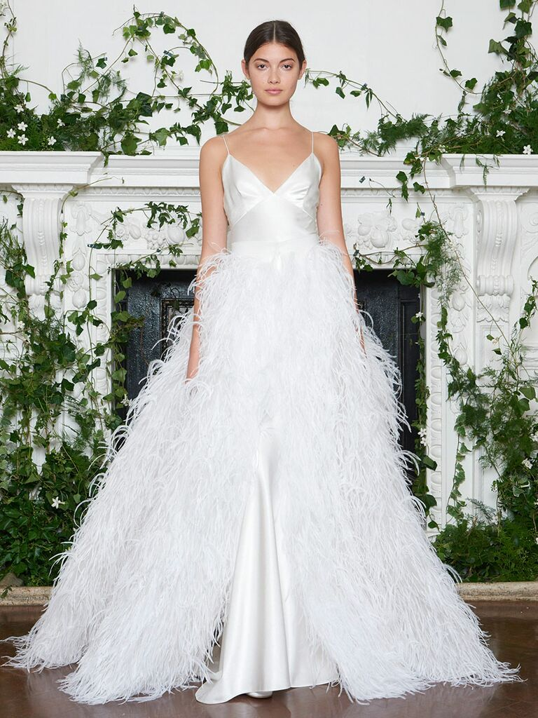Monique Lhuillier Fall 2018 full feather A-line wedding dress with ballerina triangle slip bodice