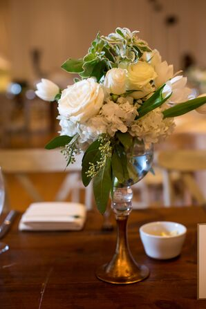 Elegant, Chic Small Ivory Floral Centerpiece