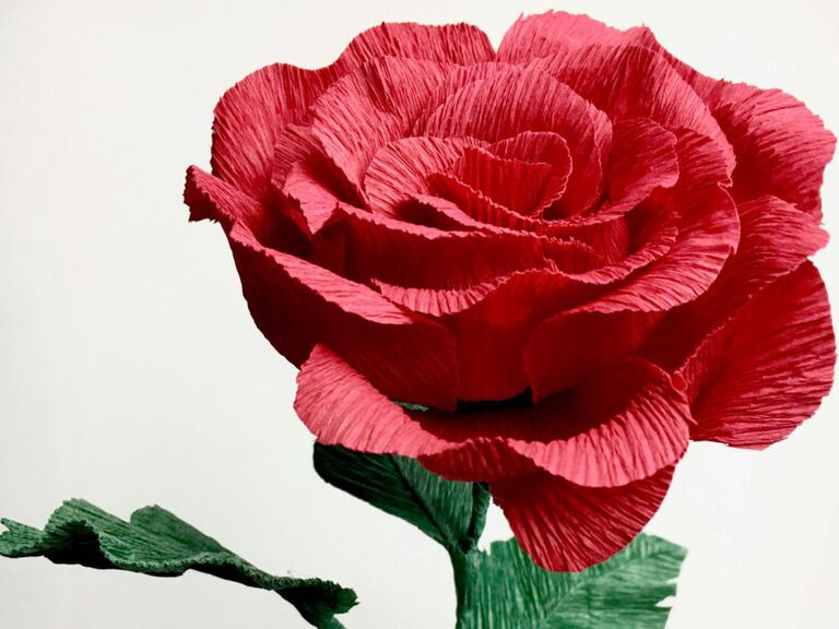 Red rose paper anniversary gift for her