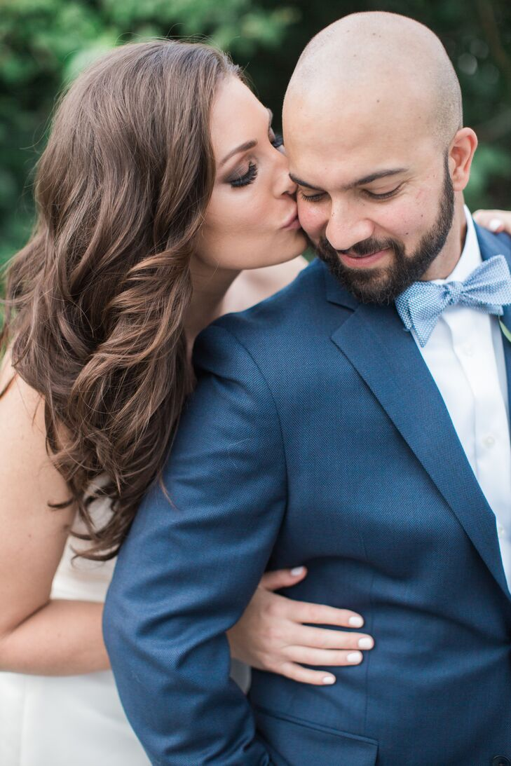 Groom in Blue Suit with Bright Blue Bow Tie