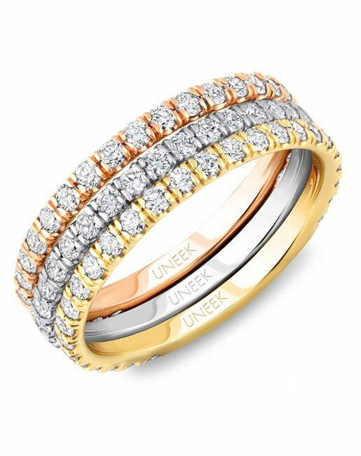 Uneek Fine Jewelry LVB149 Rose Gold, White Gold, Gold Wedding Ring