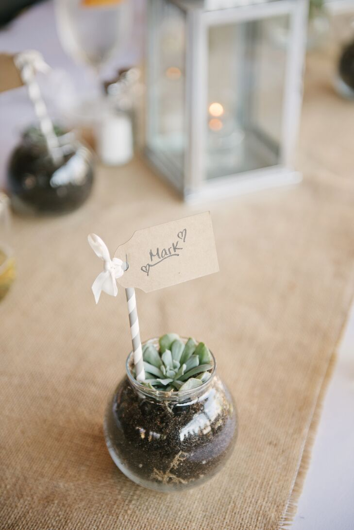 They ended up with enough mini terrariums for each of their 230 guests to take one home.