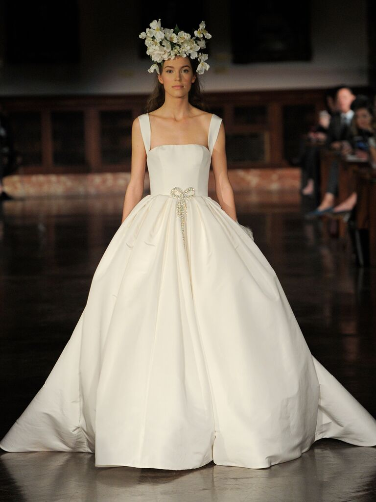 Reem Acra Spring 2019 ball gown wedding dress with crystal bow belt