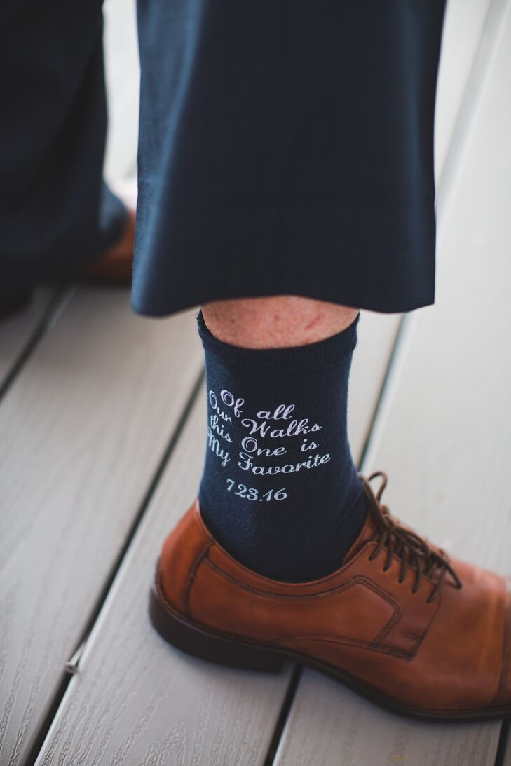 Personalized Groom's Socks With Custom Quote