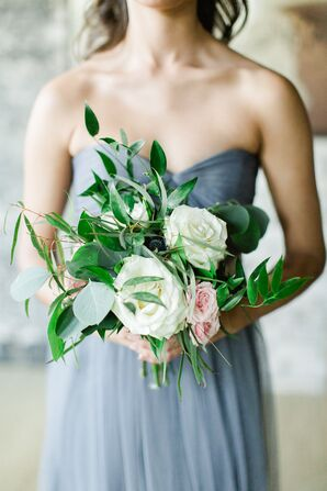 Garden Rose and Eucalyptus Bridesmaid Bouquet