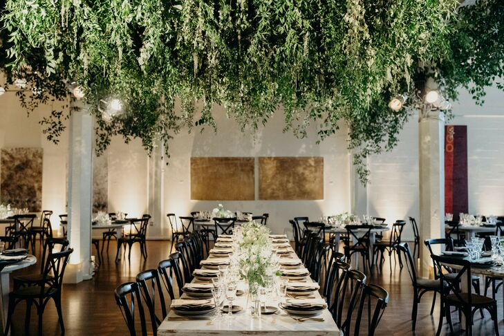 Loft Reception with Hanging Greenery at Terra Gallery in San Francisco, California