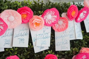 Vibrant Pink Paper Flower Escort Cards