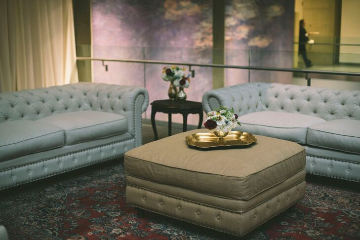 Elegant Tufted Couches and Ottoman