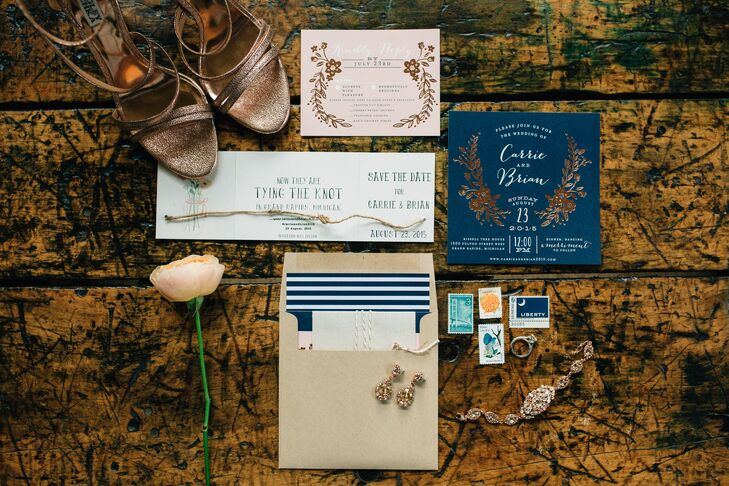 Whimsical Foil and Curly Script Wedding Invitations