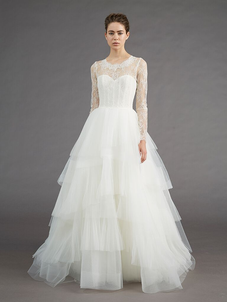 Am Long Sleeved High Necked A Line Wedding Dress