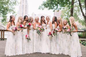Bridesmaid Slip Dresses With Watercolor Prints, V Neck and Spaghetti Straps