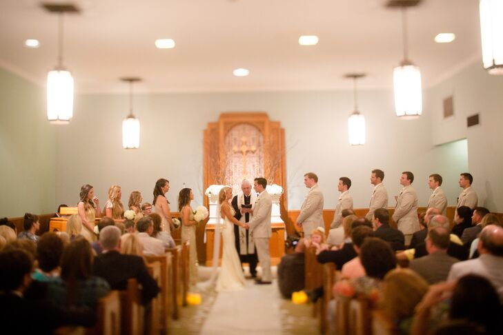 Shelby and Mark got married where Mark's parents and grandparents were both married, and wanted to continue the tradition. They exchanged vows on Mark's parents' 34th anniversary. They loved the simple, intimate setting.