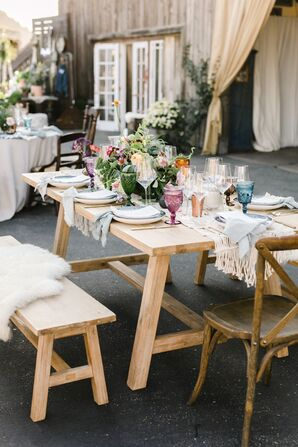 Small Wood Dining Table with Cross-Back Chairs, Benches and Colorful Vintage Glassware