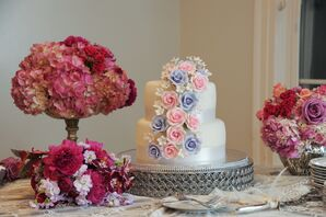 Tiered White Wedding Cake with Cake Flowers