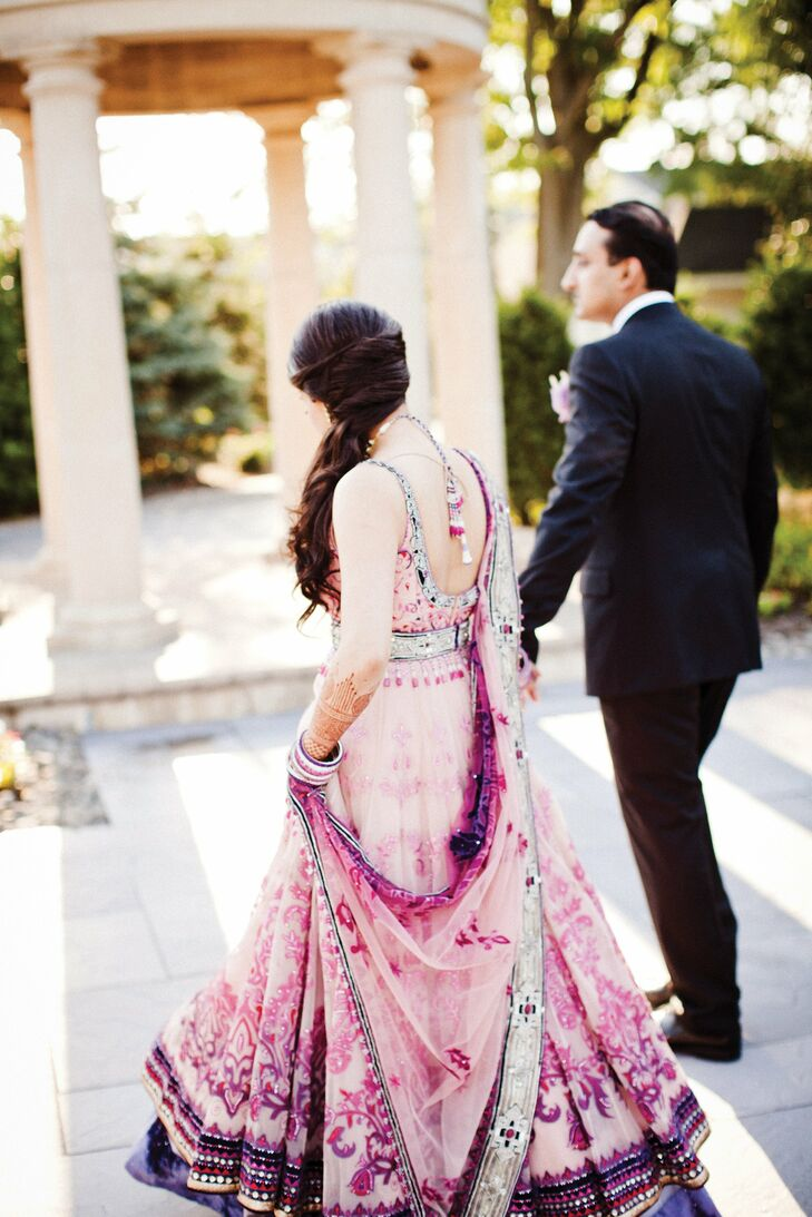 """Of her reception outfit, Shital says, """"I felt like a princess."""" She wore her hair pulled to the side with curls."""