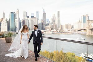 Elegant, Glamorous Couple with Navy Tuxedo and Embroidered Appliqué Wedding Gown