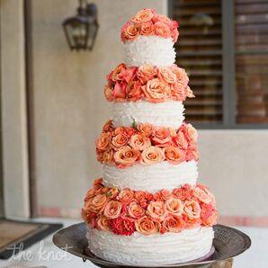Ruffled Cake With Garden Roses