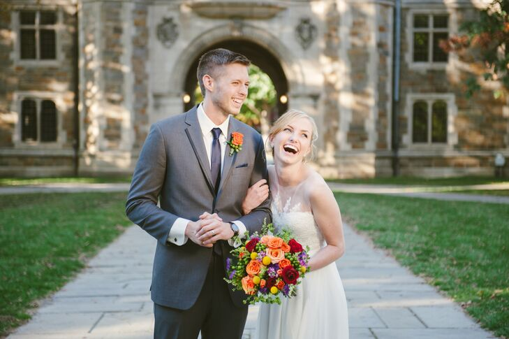 Groom and Bride in Flowy Sarah Seven Wedding Dress with Illusion Neckline