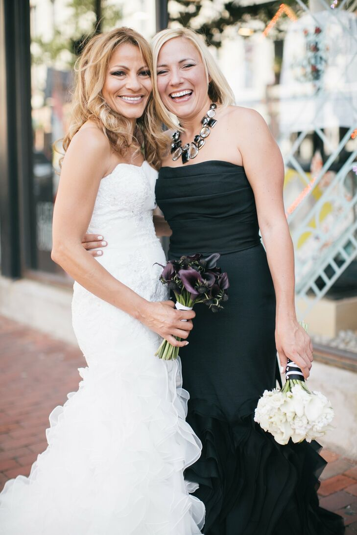 Ashley and Gabby's wedding in Red Bank, New Jersey paired classic elegance with a simple black and white color palette for an event that felt modern,