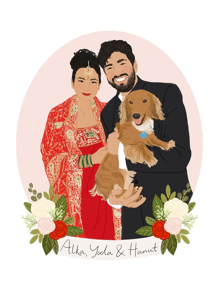 Digital portrait of a couple holding their dog