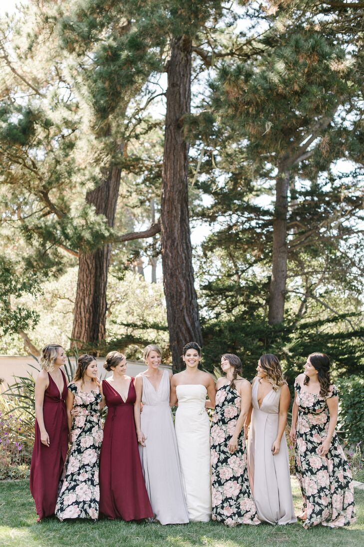 Burgundy and Floral Bridesmaid Dresses