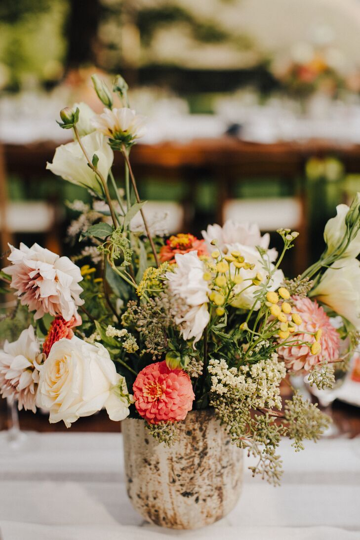Rustic Centerpieces of Roses, Dahlias and Wildflowers