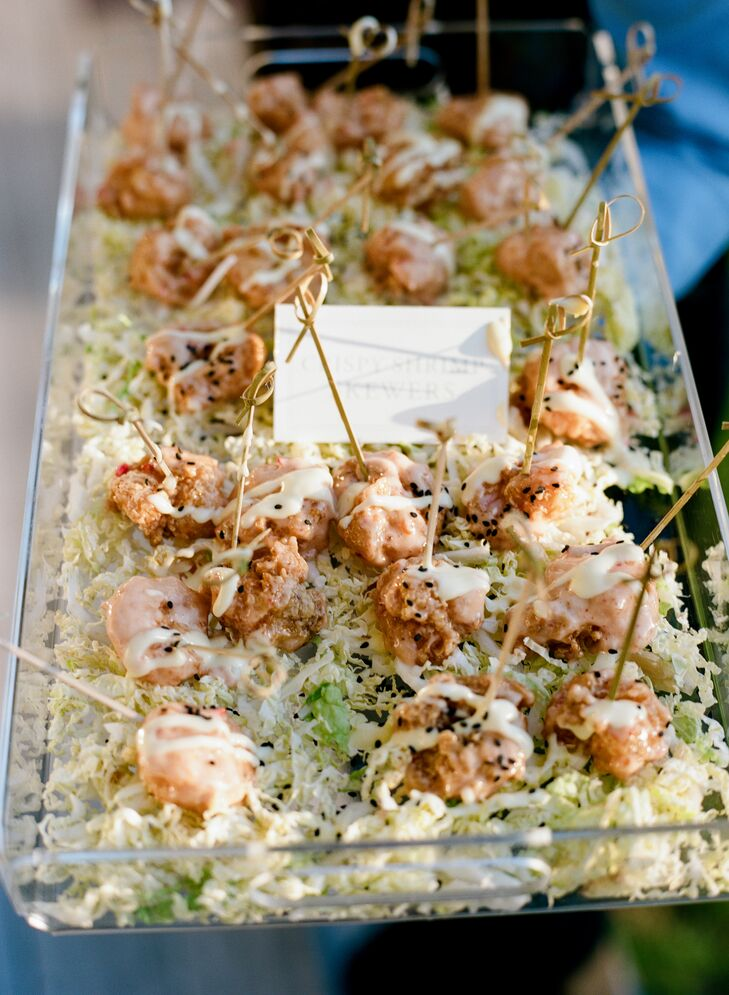 """""""My absolute favorite meal on the entire Island is the crispy shrimp appetizer served at the Ocean Course,"""" says Caroline. """"Every time I go to Kiawah I have to eat at The Ocean Course so I can order the shrimp. It was the one food item I insisted on us having at the wedding. And it was a hit during cocktail hour!"""""""
