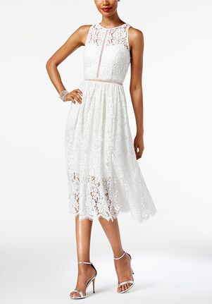 Adrianna Papell Wedding Dresses Adrianna Papell Illusion Lace Midi Dress Sheath Wedding Dress