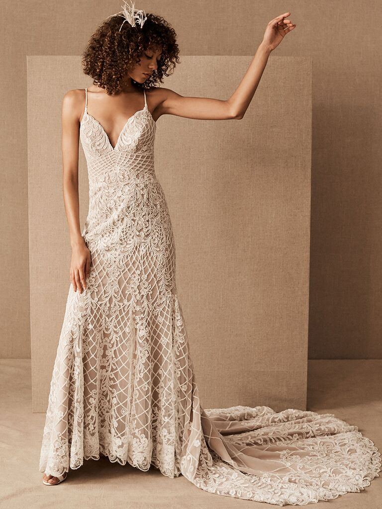 BHLDN A-line dress with beaded lace overlay