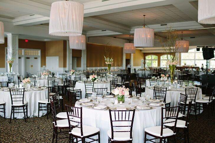 Although the wedding ceremony was held outdoors on the shores of Little Traverse Bay,  the classy reception was held in the main ballroom of the venue.