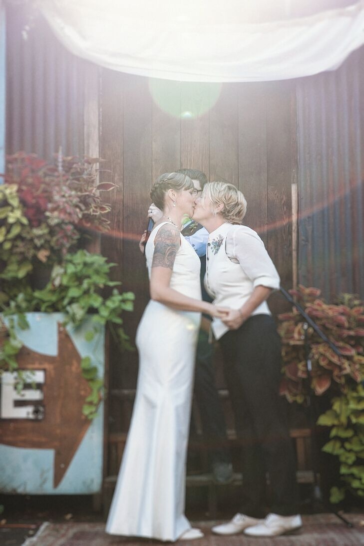 The ceremony was held in the outside courtyard of the Georgetown Ballroom. The couple read their own vows. We word-smithed some ideas about marriage and love in a way that felt really authentic to us, Alissa said.